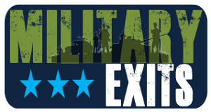 Military Exits logo: stencil font with camo pattern over top.